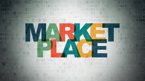 Advertising concept: Marketplace on Digital Data Paper background