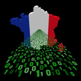 France map flag with binary foreground illustration