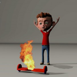 rendering of a boy upset over his hoverboard bursting into flames