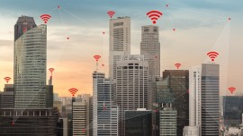 IOT and Smart City Concept Illustrated by Wireless Networking and Wifi Icon