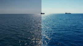 Photo before and after the image editing process. Sea ships
