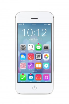 White modern iphone smartphone with application icons on the screen