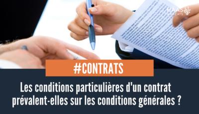 conditions générales et conditions particulières d'un contrat
